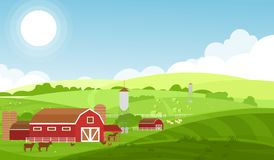 Vector el ejemplo de la granja con los campos, las vacas y las ovejas grandes, animales del campo en fondo hermoso del paisaje Le stock de ilustración