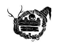 Vector el ejemplo de la guirnalda witching con los cuernos, cráneo, sombrero, velas, tabletas de madera Fotografía de archivo libre de regalías