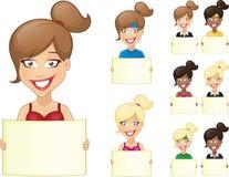 Vector el ejemplo de la historieta de la mujer atractiva, linda que sostiene la bandera Fotos de archivo libres de regalías