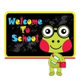 Vector el ejemplo de la historieta de la rana linda y de la recepción a la escuela Fotos de archivo libres de regalías