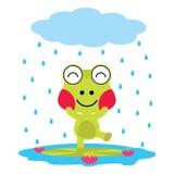 Vector el ejemplo de la historieta de los juegos lindos de la rana en la lluvia Foto de archivo libre de regalías