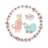 Vector el ejemplo de la historieta de un bosquejo en colores en colores pastel Gato de la mamá que camina con un cochecito de beb Fotos de archivo libres de regalías