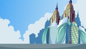 Vector el ejemplo de la historieta de un paisaje urbano con los edificios modernos grandes