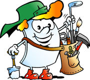Vector el ejemplo de la historieta de una mascota feliz del papel del golfista Imagen de archivo