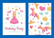 Vector el ejemplo de la invitación de la fiesta de cumpleaños de la magia y del cuento de hadas libre illustration