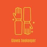Vector el ejemplo de la línea fina guantes del apicultor s del icono Foto de archivo libre de regalías