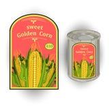 Vector el ejemplo de la lata con una etiqueta para el maíz dulce conservado con la imagen de tres mazorcas de maíz realistas y de Fotografía de archivo
