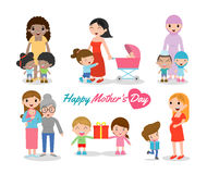 Vector el ejemplo de la madre y del niño en el fondo blanco, el día de madres feliz, las mujeres hermosas y al niño, madres felic stock de ilustración