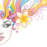 Vector el ejemplo de la mitad de la cara hermosa punteada de la muchacha con la flor del Plumeria o del Frangipani aislada en bla Fotografía de archivo