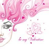 Vector el ejemplo de la mitad de la cara hermosa punteada de la muchacha con los corazones y el pelo rizado rosado aislados en bl ilustración del vector