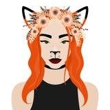 Vector el ejemplo de la muchacha con los oídos, la flor, la pluma y la guirnalda del zorro Fotografía de archivo libre de regalías