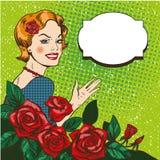 Vector el ejemplo de la mujer con el ramo de las rosas, estilo del arte pop ilustración del vector
