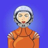 Vector el ejemplo de la mujer joven hermosa del arte pop ilustración del vector
