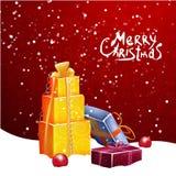 Vector el ejemplo de la Navidad con diseño tipográfico y los elementos brillantes del día de fiesta en fondo rojo Fotografía de archivo libre de regalías