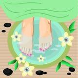 Vector el ejemplo de la pedicura de los pies de las mujeres en estilo plano Foto de archivo libre de regalías