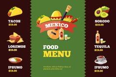 Vector el ejemplo de la plantilla del menú del restaurante del fondo con la comida mexicana Imágenes de archivo libres de regalías