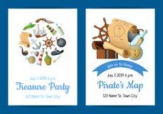 Vector el ejemplo de la plantilla de la invitación de la fiesta de cumpleaños de los piratas del mar de la historieta stock de ilustración