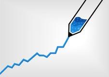 Vector el ejemplo de la pluma que dibuja una carta de crecimiento del negocio con tinta azul en diseño plano Fotografía de archivo libre de regalías