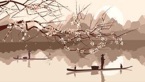 Vector el ejemplo de la rama del árbol floreciente con la pesca de BO ilustración del vector