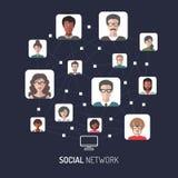 Vector el ejemplo de la red, de la conexión a internet global de la gente, de los iconos del app de los hombres y de las medias i Fotos de archivo