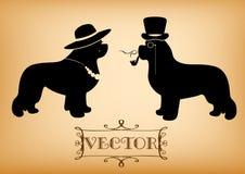 Vector el ejemplo de la señora y del caballero con los perros de Terranova Foto de archivo libre de regalías