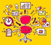 Vector el ejemplo de la silla roja de la oficina con los documentos Imágenes de archivo libres de regalías