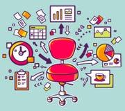 Vector el ejemplo de la silla roja de la oficina con los documentos y finan Fotografía de archivo libre de regalías