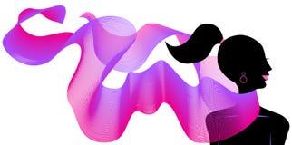 Diseño de la onda con la silueta de la muchacha libre illustration