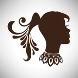 Vector el ejemplo de la silueta india hermosa abstracta de la mujer en perfil con la cola y el collar Imagen de archivo