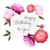 Vector el ejemplo de la tarjeta de cumpleaños con las flores coloridas de las peonías en el fondo blanco Imagen de archivo