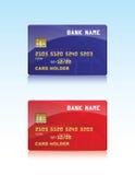 Vector el ejemplo de la tarjeta de crédito brillante y roja Imágenes de archivo libres de regalías
