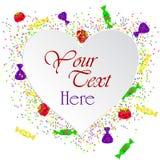 Vector el ejemplo de la tarjeta de felicitación con el corazón del Libro Blanco y los caramelos coloridos Fotografía de archivo libre de regalías