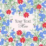 Vector el ejemplo de la tarjeta de felicitación con las flores azules y rojas Imagen de archivo libre de regalías