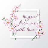 Vector el ejemplo de la tarjeta de felicitación con las flores rosadas del flor Fotos de archivo libres de regalías