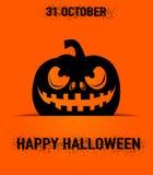 Vector el ejemplo de la tarjeta de felicitación del feliz Halloween con la silueta asustadiza de la calabaza Fotografía de archivo libre de regalías