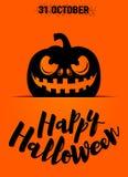 Vector el ejemplo de la tarjeta de felicitación del feliz Halloween con la silueta asustadiza de la calabaza Foto de archivo