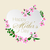 Vector el ejemplo de la tarjeta de felicitación para el día del ` s de la madre adornada con el flor rosado Fotos de archivo