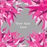 Vector el ejemplo de la tarjeta de felicitación rosada de los triángulos en fondo gris con el lugar para su texto Fotos de archivo libres de regalías