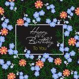 Vector el ejemplo de la tarjeta del feliz cumpleaños con las flores azules y anaranjadas Imágenes de archivo libres de regalías
