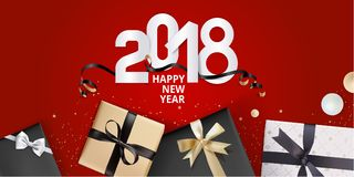 Vector el ejemplo de la tarjeta 2018 de felicitación del Año Nuevo Fotos de archivo libres de regalías