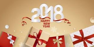 Vector el ejemplo de la tarjeta 2018 de felicitación del Año Nuevo Foto de archivo libre de regalías