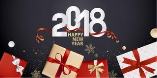 Vector el ejemplo de la tarjeta 2018 de felicitación del Año Nuevo Fotografía de archivo