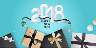 Vector el ejemplo de la tarjeta 2018 de felicitación del Año Nuevo Imagen de archivo libre de regalías