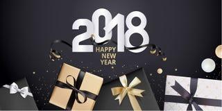 Vector el ejemplo de la tarjeta 2018 de felicitación del Año Nuevo Imagenes de archivo