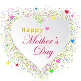 Vector el ejemplo de la tarjeta feliz del día del ` s de la madre con el corazón blanco Foto de archivo libre de regalías