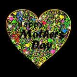 Vector el ejemplo de la tarjeta feliz del día del ` s de la madre con el corazón colorido Imágenes de archivo libres de regalías