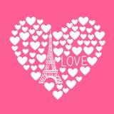 Vector el ejemplo de la torre Eiffel en el corazón de corazones Imagen de archivo