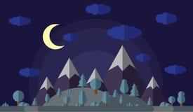 Vector el ejemplo de las altas montañas y de las colinas, el bosque cubierto con nieve y el claro de luna en el cielo claro con ilustración del vector