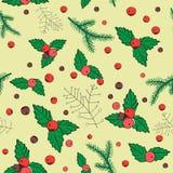 Vector el ejemplo de las bayas de la Navidad en fondo amarillo claro Modelo inconsútil Foto de archivo
