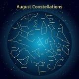 Vector el ejemplo de las constelaciones el cielo nocturno en August Glowing un círculo azul marino con las estrellas en espacio Foto de archivo